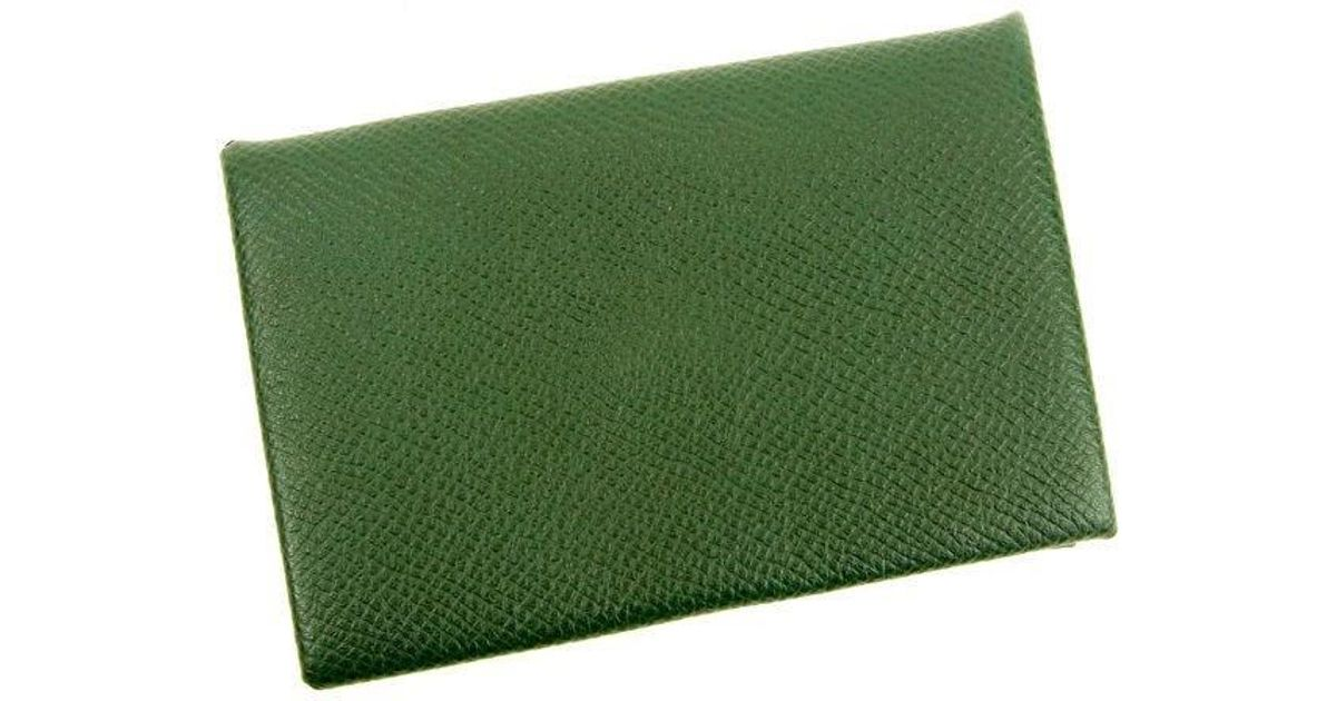 Lyst herms business card holder ladies used y5189 in green colourmoves