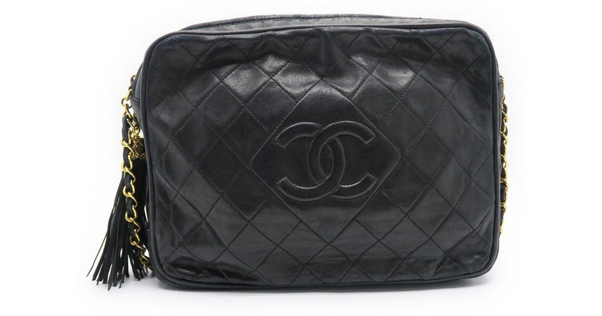 554ae9bc848eb1 Lyst - Chanel Quilted Calfskin Leather Chain Shoulder Crossbody Bag Black  3272 in Black
