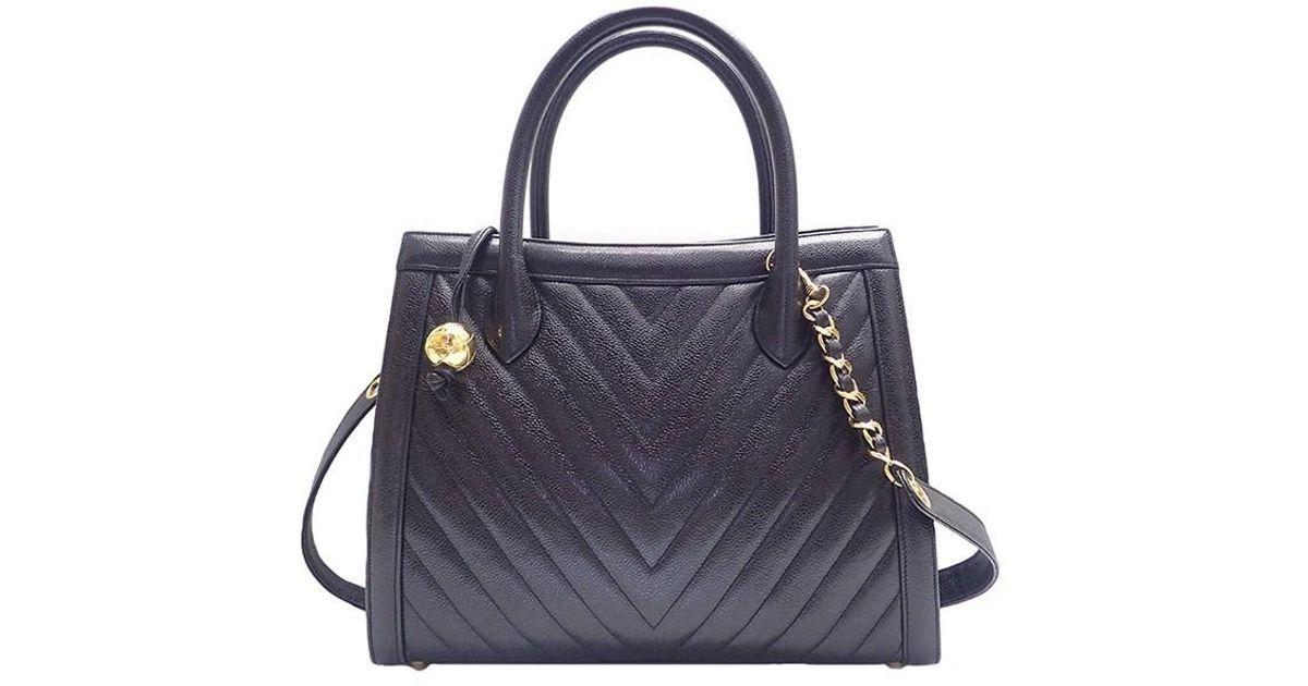 8da1a71b9d2f Lyst - Chanel V Stitch Caviar Skin 2 Way Shoulder in Black