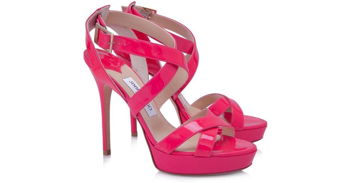 15402b9b017 Lyst - Jimmy Choo Pre-owned Vamp Platform Sandals in Pink