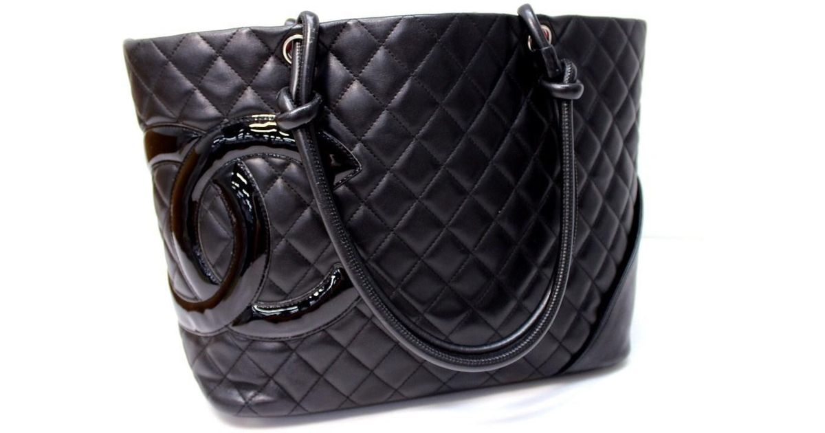 505a07e9df697b Lyst - Chanel Cambon Line Large Tote Shoulder Bag Black Calf Leather/enamel  A25169 in Black