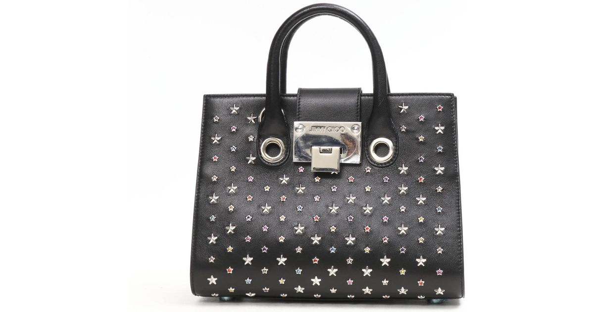 494965ab1 Lyst - Jimmy Choo Star Studs 2way Shoulder Bag Leather Black in Black
