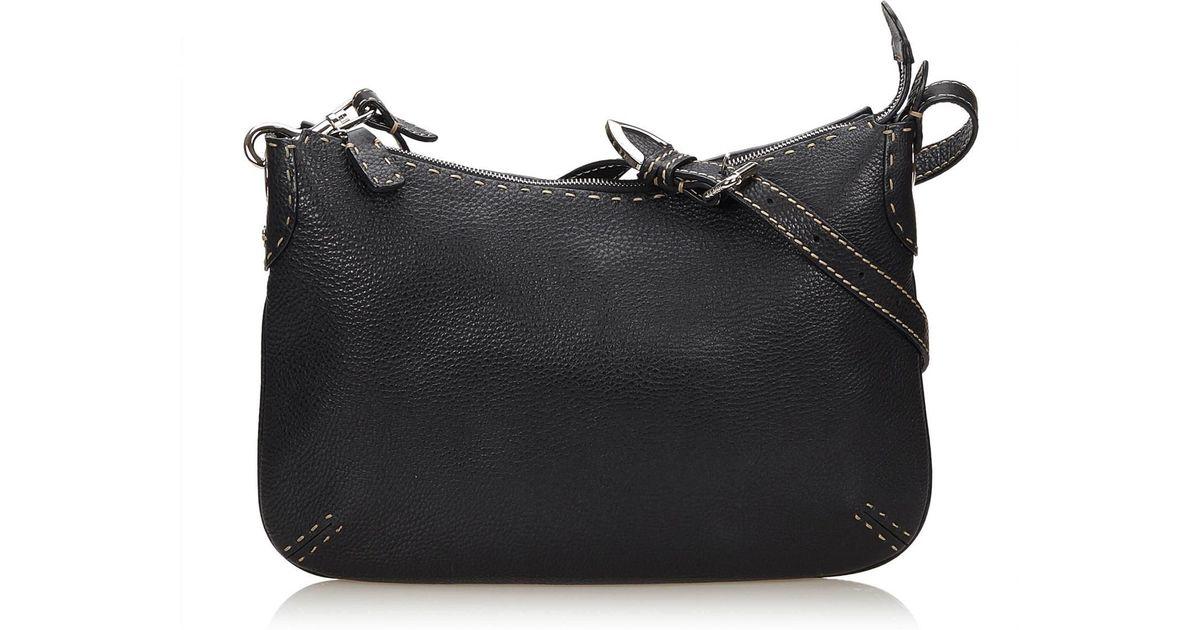 614fde3c31dc Lyst - Fendi Leather Selleria Crossbody Bag in Gray