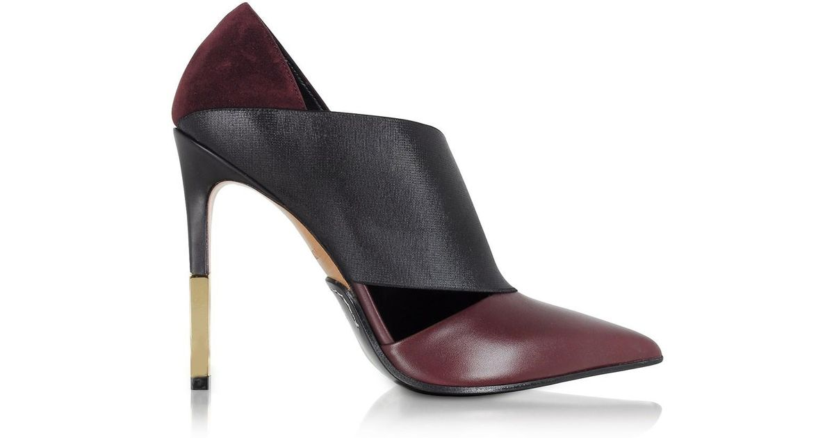 d22b922c23c5 Lyst - Balmain Audrey Burgundy Leather Pump in Red