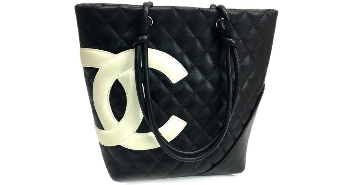 060fc0bb126da1 Chanel Cambon Line Women's Bag Medium Tote Bag Tote Bag Black/white A25167  in Black - Lyst