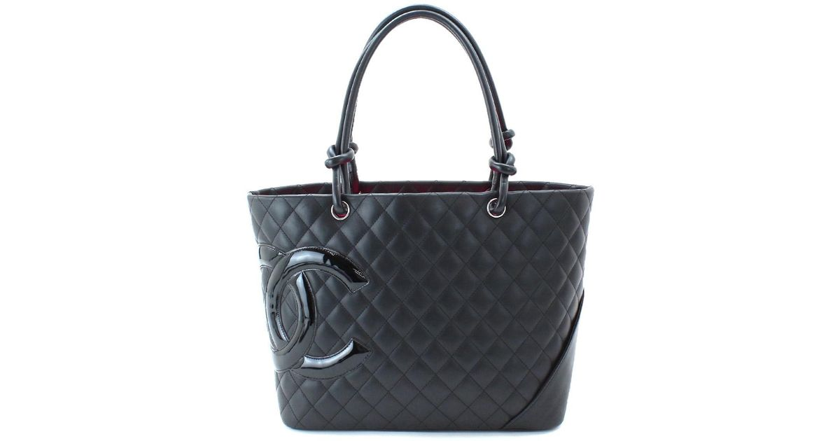 1a3ee70573 Lyst - Chanel Cambon Line Large Tote Bag Leather Black A25169 Purse  90042507.. in Black