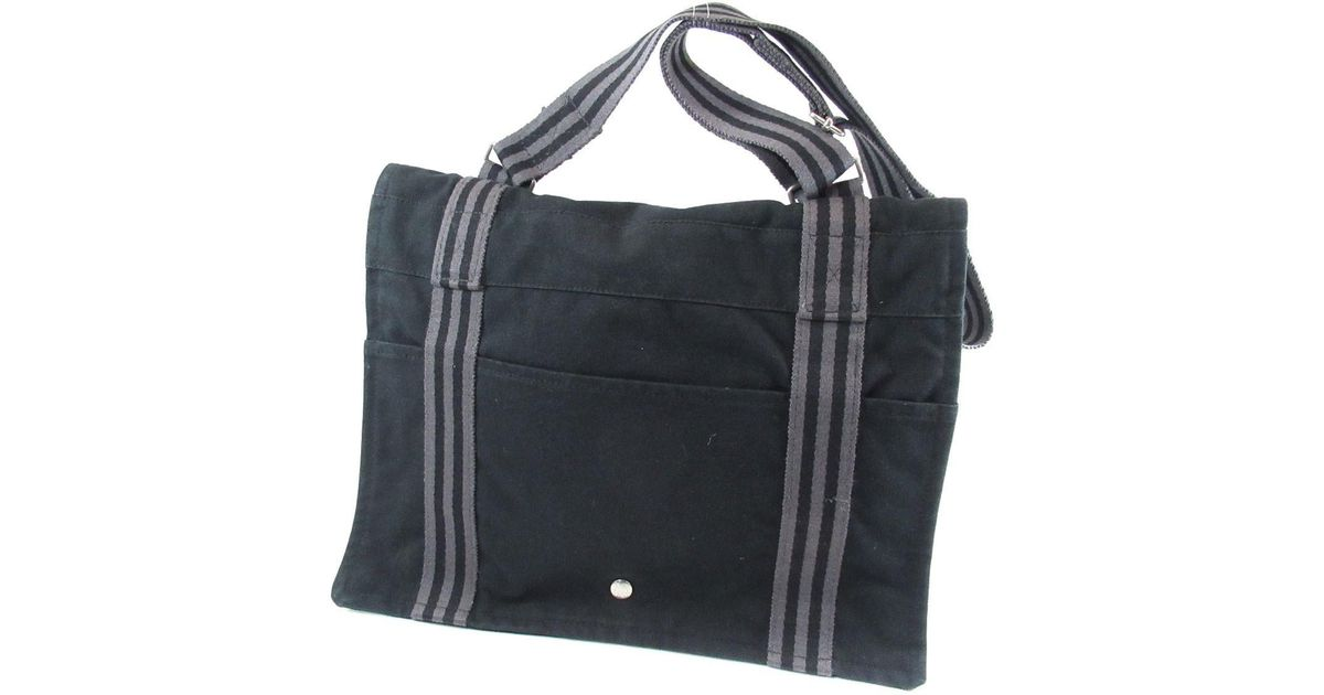 4e803f4a7 ... promo code for lyst hermès canvas shoulder bag fool toe bassas in black  64f07 8d1e6