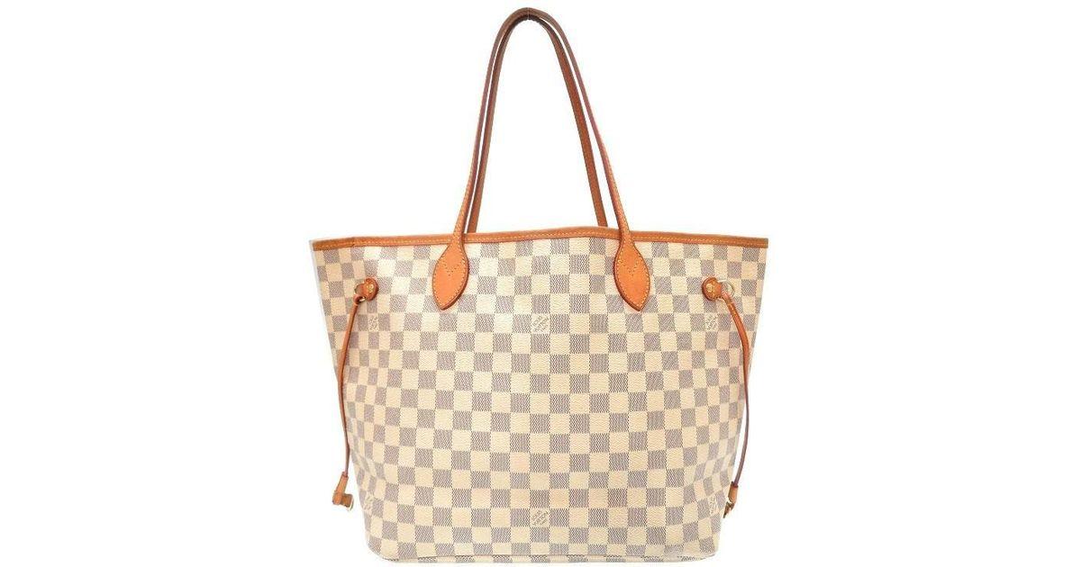 a186c50a6de6 Lyst - Louis Vuitton N 51107 Neverfull Mmtote Bag White Damierazurcanvas Lv  0315 in White
