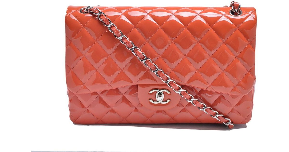 7d84577fa942 Chanel Classic Jumbo Double Flap Quilted Coral Pink Patent Leather Shw in  Orange - Lyst