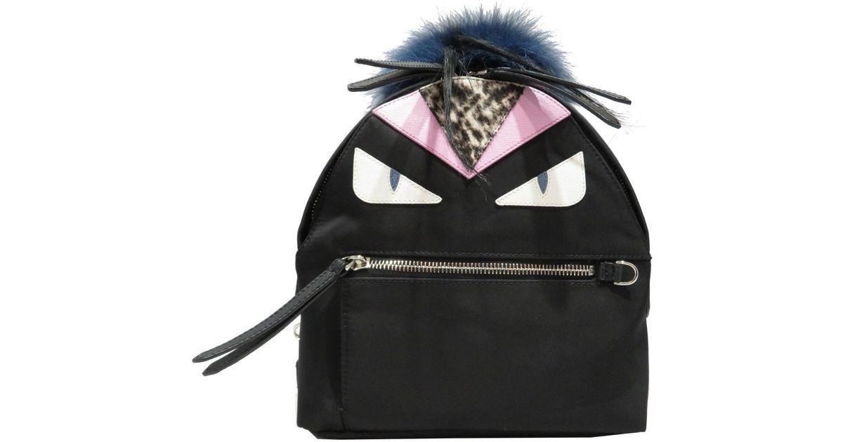 13eb7bde485d Lyst - Fendi Monster Mini Backpack Rucksack With Fur Nylon Leather Fur Black  8bz038 in Black