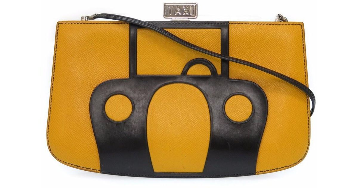 3505d46c117e ... norway hermès taxi taxi sac amaresshoulder bag yellow black courchevel  0352 in yellow lyst 8f216 72e4e