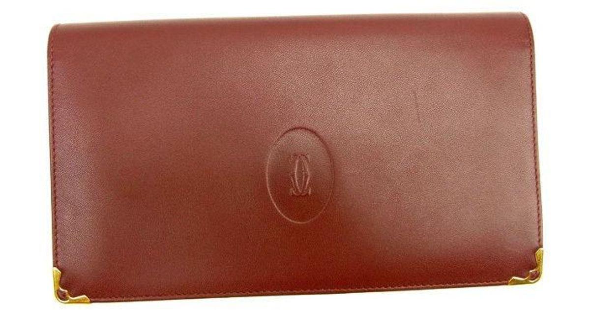 ee8919853b Lyst - Cartier Wallet Purse Mastline Ladies Men''s Used Y6535 in Red