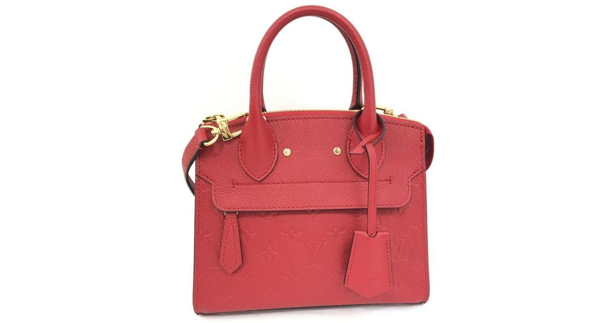 84401fa3123 Lyst - Louis Vuitton Pont Neuf Mini 2way Hand Bag Empreinte Leather Cherry  M41744 in Red