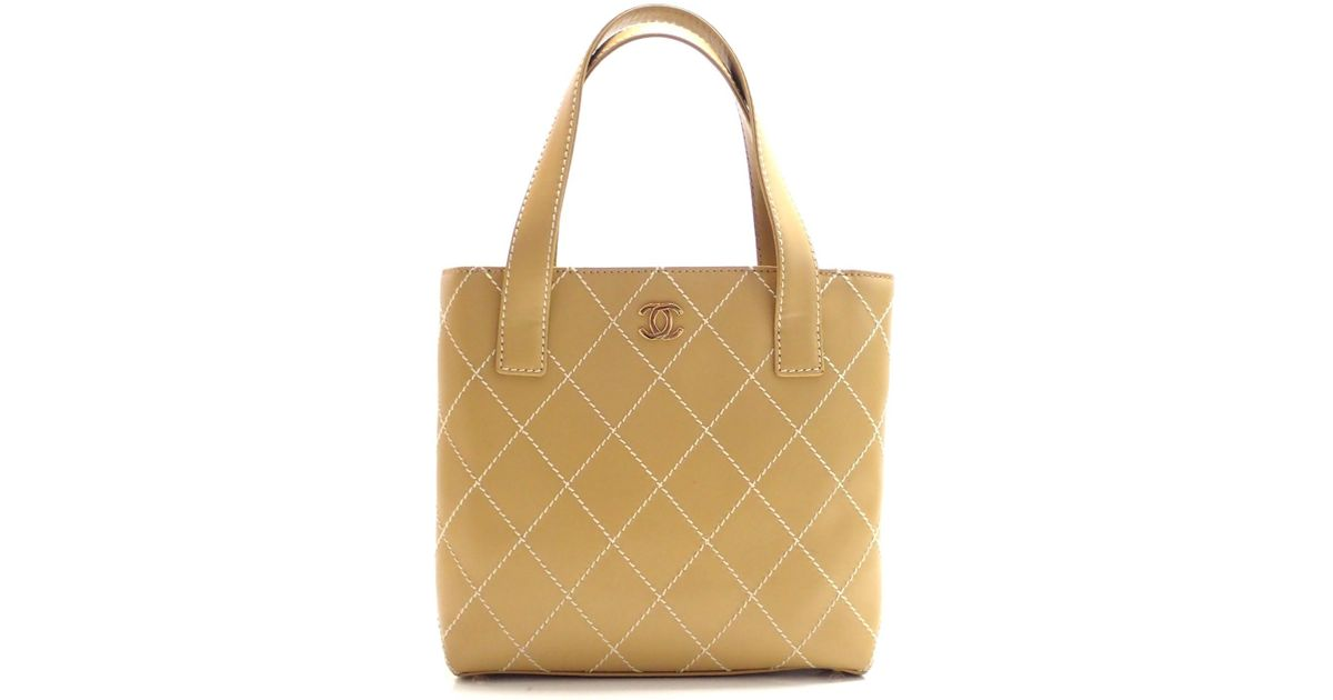 47eab42114fb Lyst - Chanel Wild Stitch Hand Tote Bag A 18126 in Natural