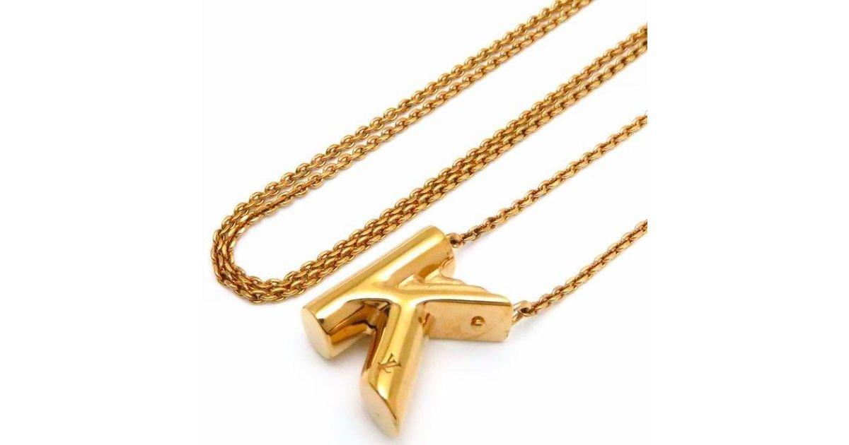 4fb32c4c60092 Lyst Louis Vuitton Gold Plated Lv Me K Necklace Alphabet Initial