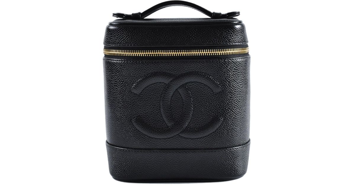 38436b8b13b Chanel Vintage Black Caviar Leather Vanity Case Bag in Black - Lyst