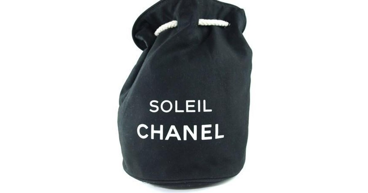great fit footwear variety styles of 2019 Chanel Soleil Black Cotton Canvas Drawstring Backpack Bag