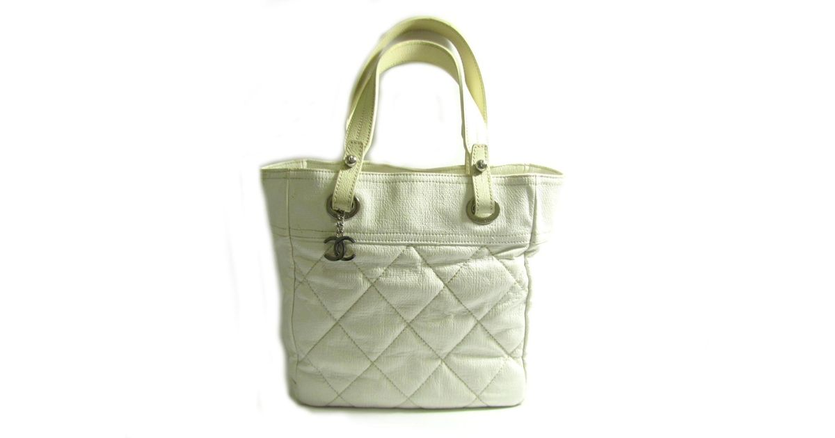 5db89d06ffc5d4 Lyst - Chanel Authentic Paris Biarritz Tote Pm Tote Bag Quilted Leather  White Used in White
