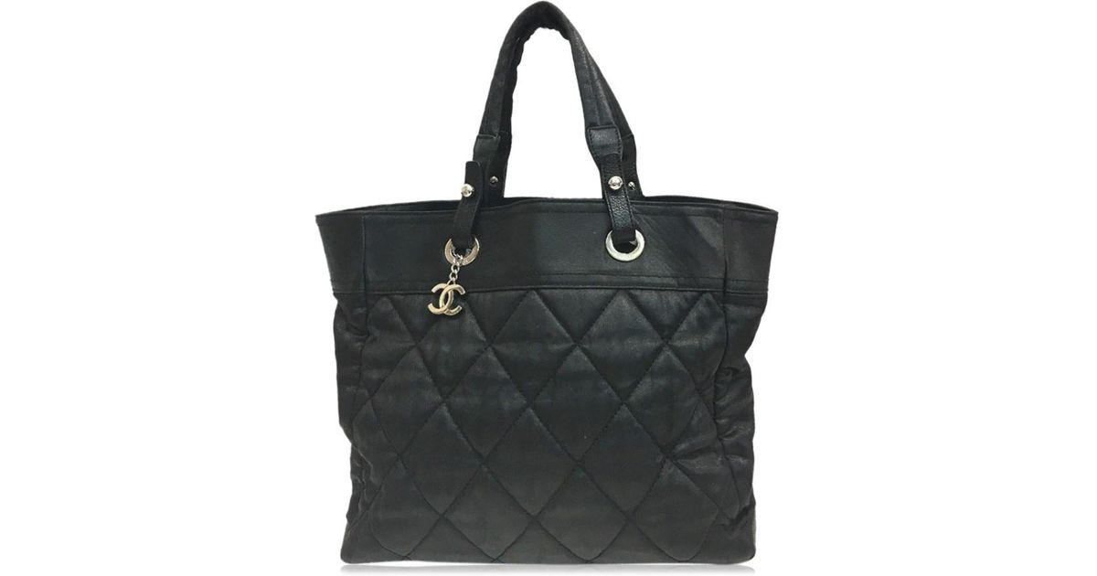 dd467fc4c761 Lyst - Chanel Coding Canvas Paris Biarritz Tote Mm Tote Bag Black Campus X  Leather in Black