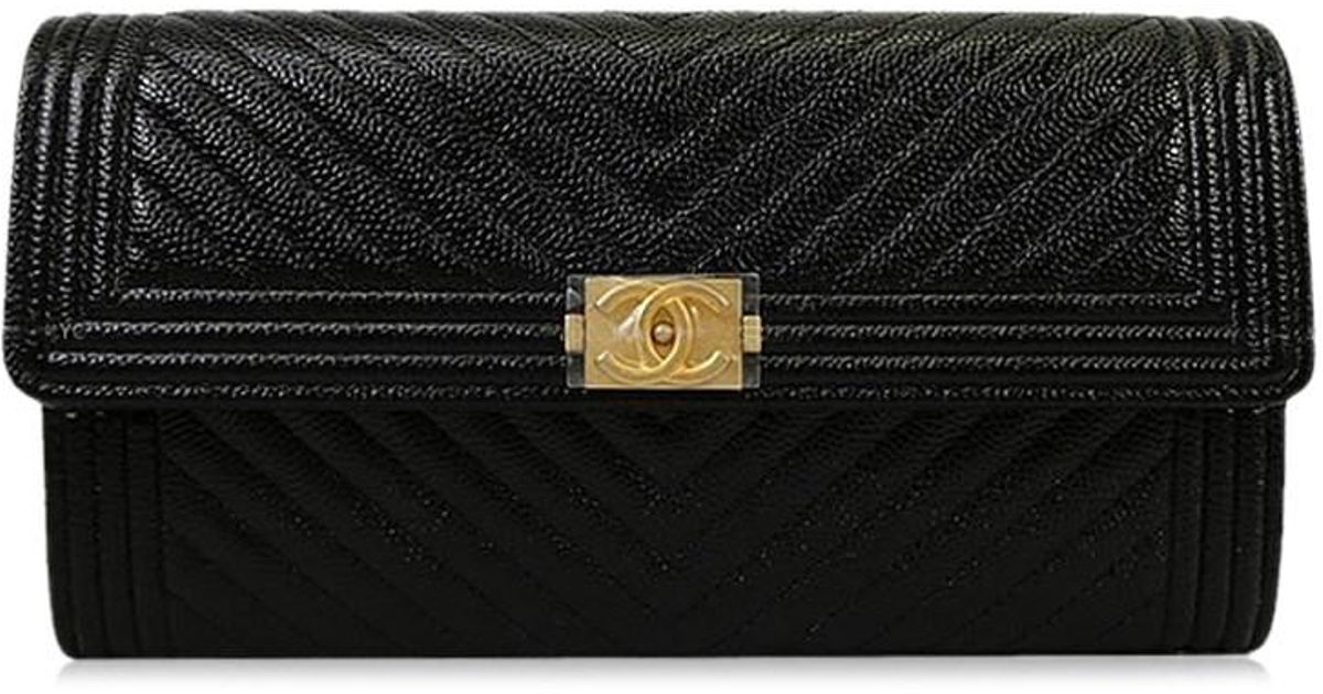a0c680364003f9 Chanel Boy Chevron Flap Long Wallet Black Grained Calf A80286[brand  New][authentic] in Black - Lyst