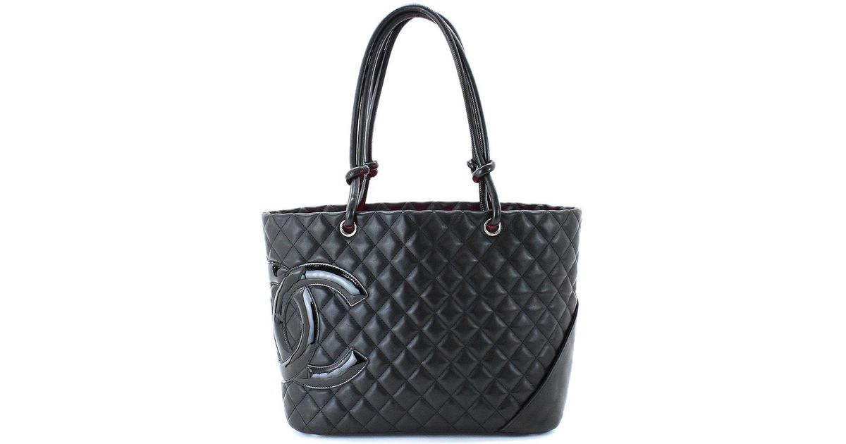 14a35b33539438 Chanel Cambon Line Large Tote Bag Leather Black A25169 Purse 90043113.. in  Black - Lyst