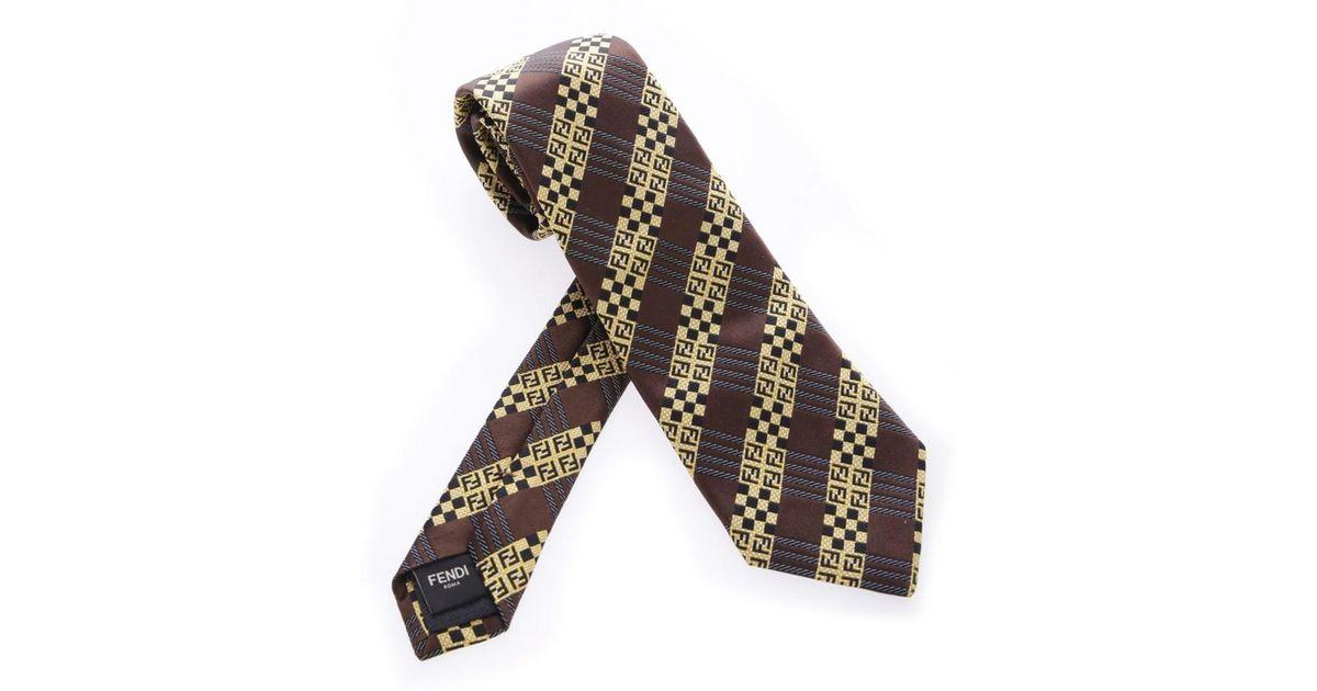 6.5cm Brodé De Soie Jacquard Cravate Fendi eiMsCVnV