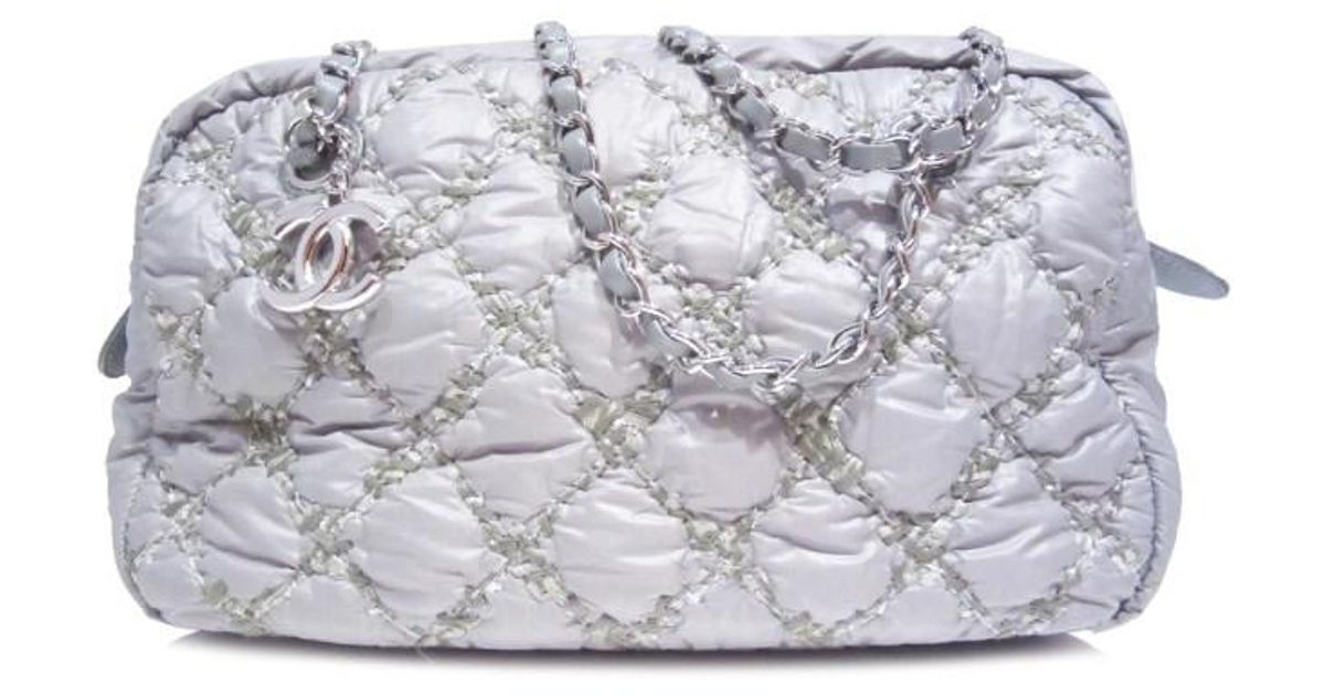ea8e5c28a44061 Chanel Wild Stitch Chain Shoulder Bag Quilted Nylon Grey in Gray - Lyst