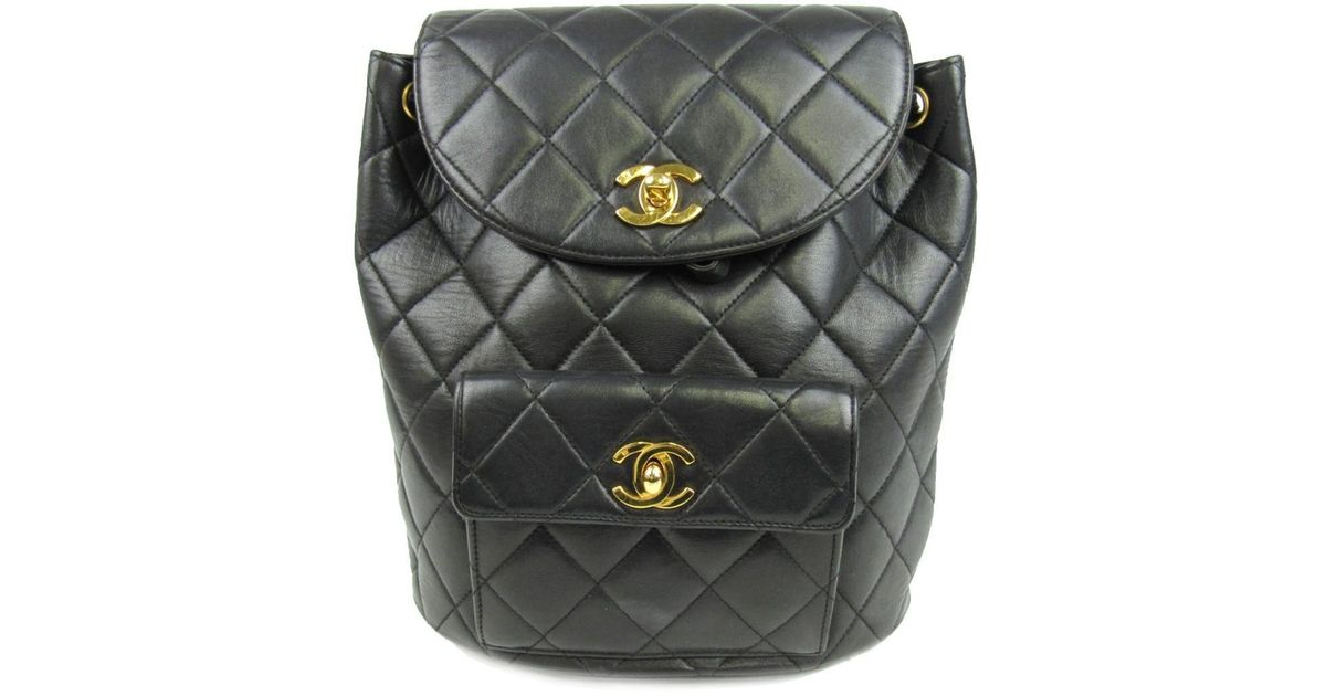 Lyst - Chanel Matelasse Chain Backpack Cc Black Lambskin Leather Quilted in  Black e97bb5d4241be