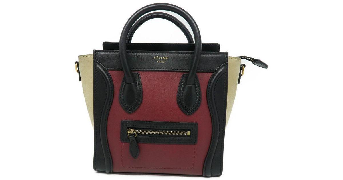 fb97da3022 Lyst - Céline Calfskin Leather Nano Luggage Shoulder Tote Bag Red  Black  8337 in Red