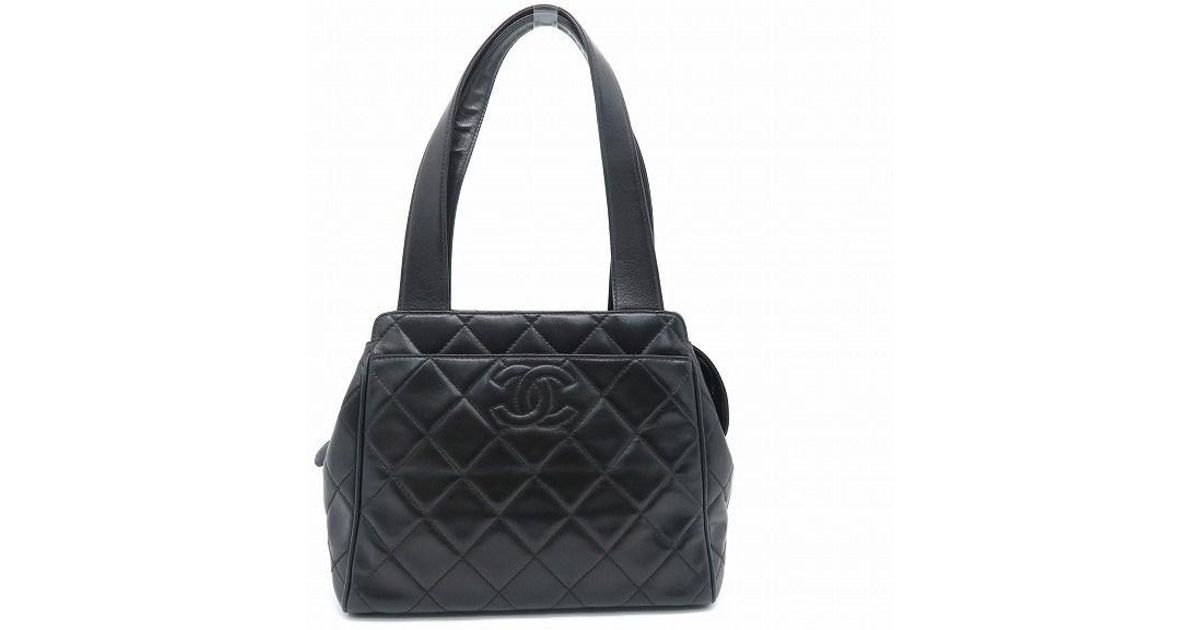 e2382fb98be6 Lyst - Chanel Quilted Lambskin Leather Tote Bag Handbag Black 7034 in Black