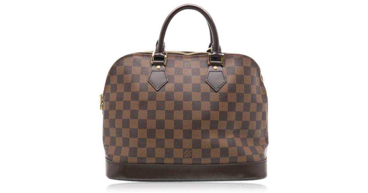 00fb49fa7460 Lyst - Louis Vuitton Damier Alma Handbag Top Handle Bag Brown N51131 2069  in Brown