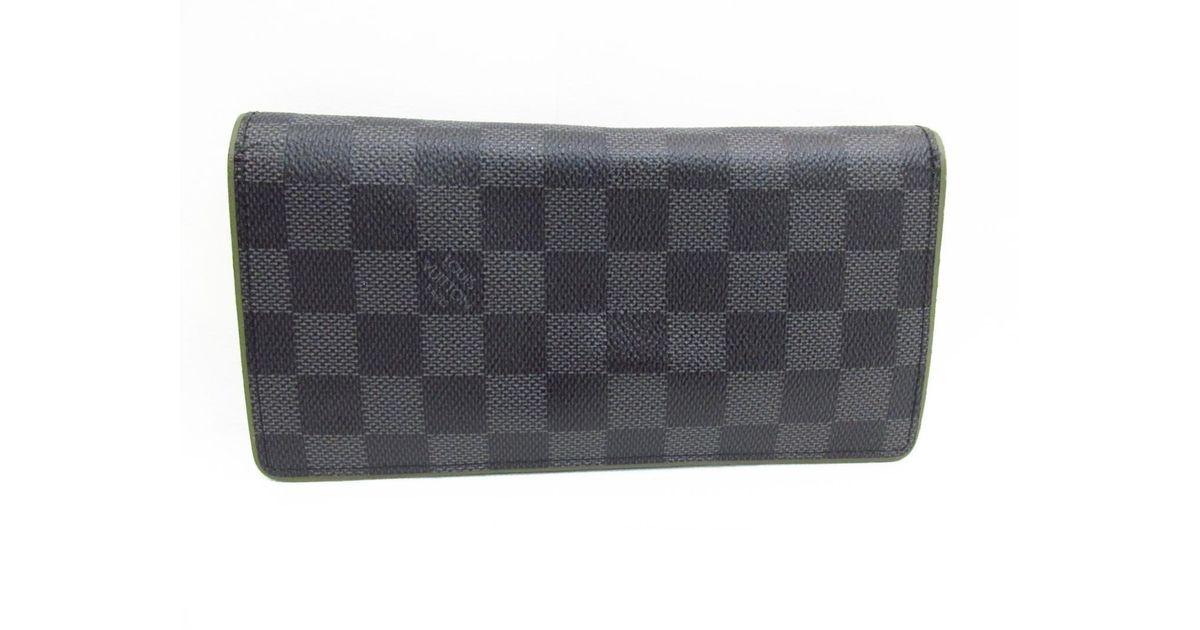 f955e8b36653 Lyst - Louis Vuitton Portefeiulle Brazza Bi-fold Long Wallet Damier  Graphite N63269 in Black