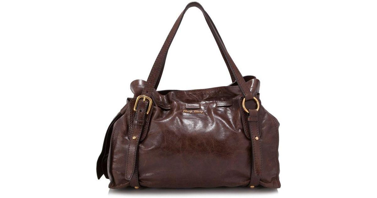 49869958dba8 Lyst - Miu Miu Pre-owned Vitello Lux Shopping Bag in Brown