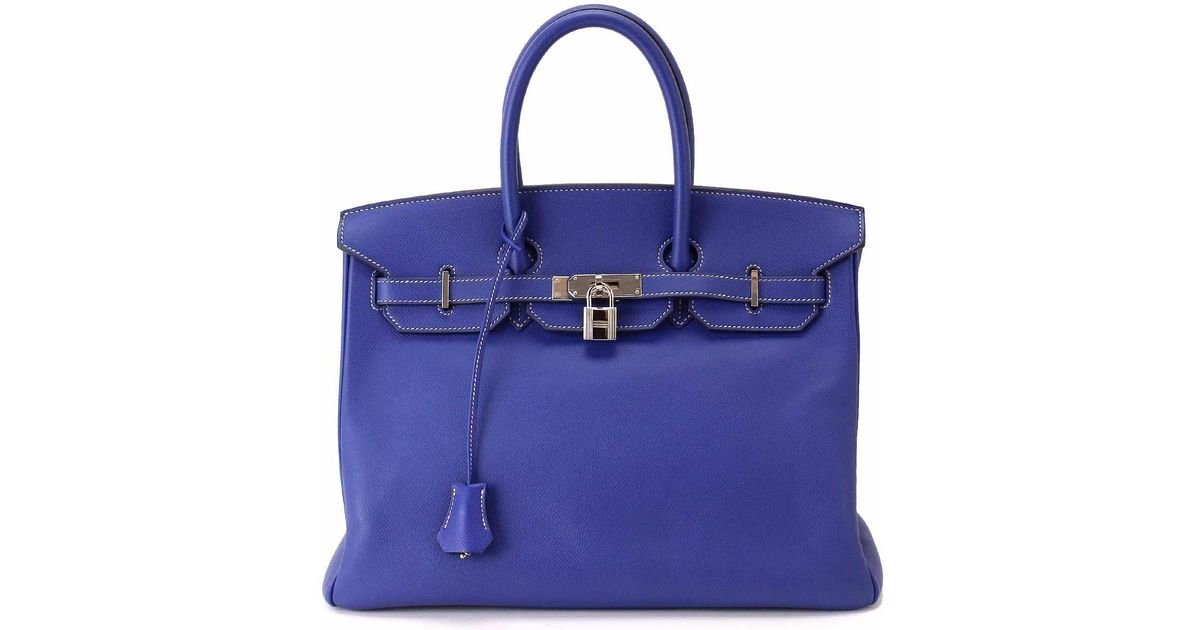 Lyst Hermès Candy Birkin 35 Epsom Blue Electric Mykonos Handbags 90038113 In