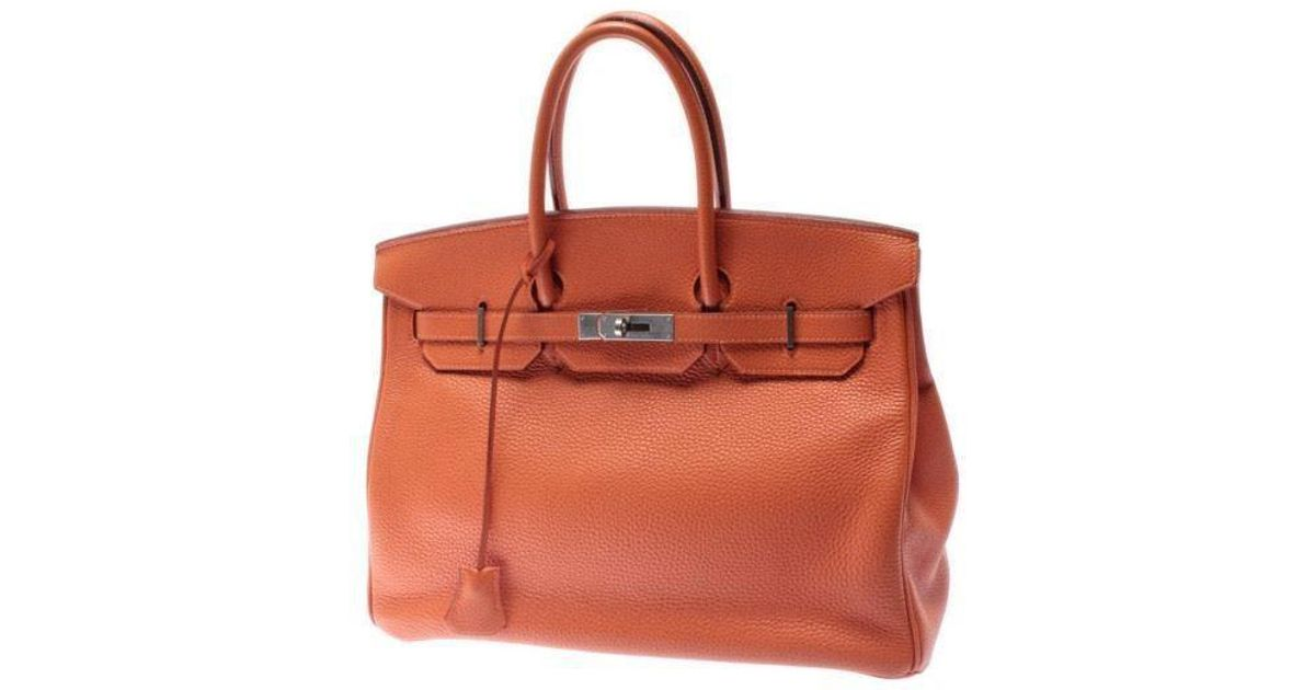 5c07d46d53 Lyst - Hermès Tote Bag Birkin Orange 35 in Orange