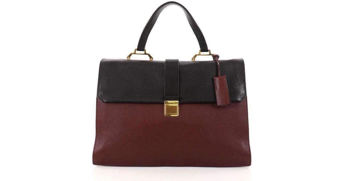 d47b8504deb Lyst - Miu Miu Bicolor Madras Convertible Compartment Top Handle Bag Leather  Large in Black