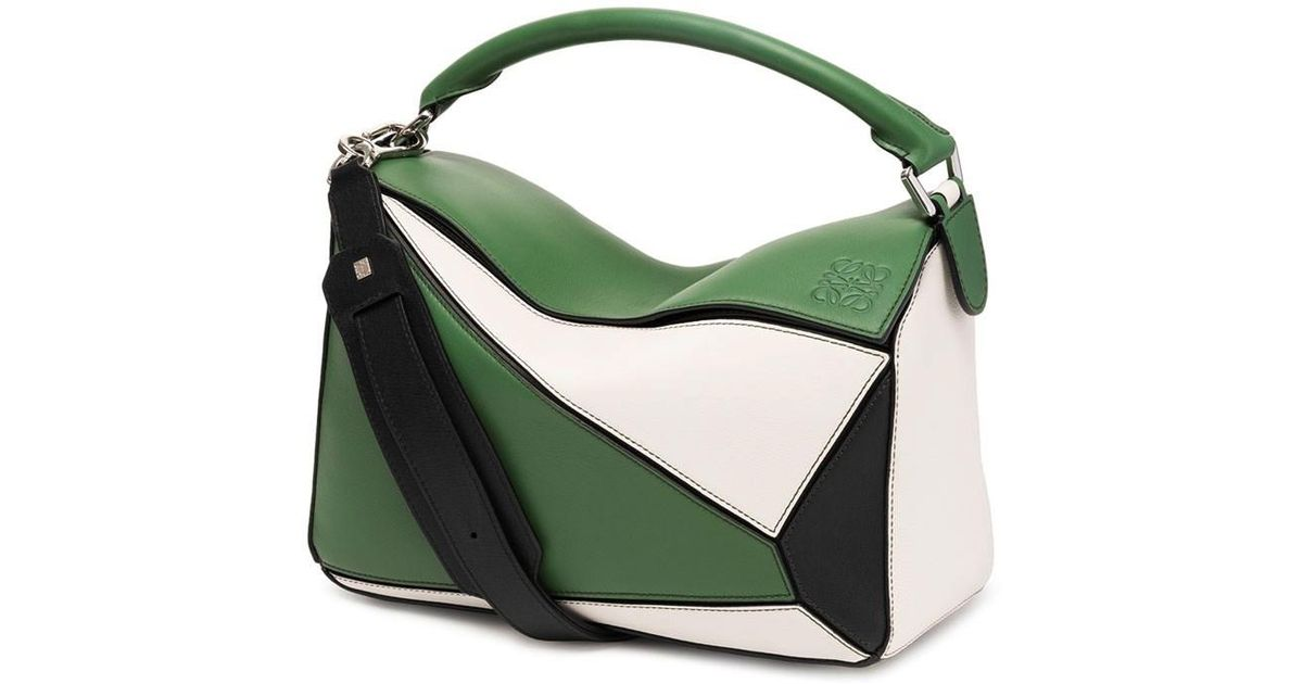 20bd9cff2c Loewe Puzzle Crossbody Bag Forest Green/white/black in Green - Lyst