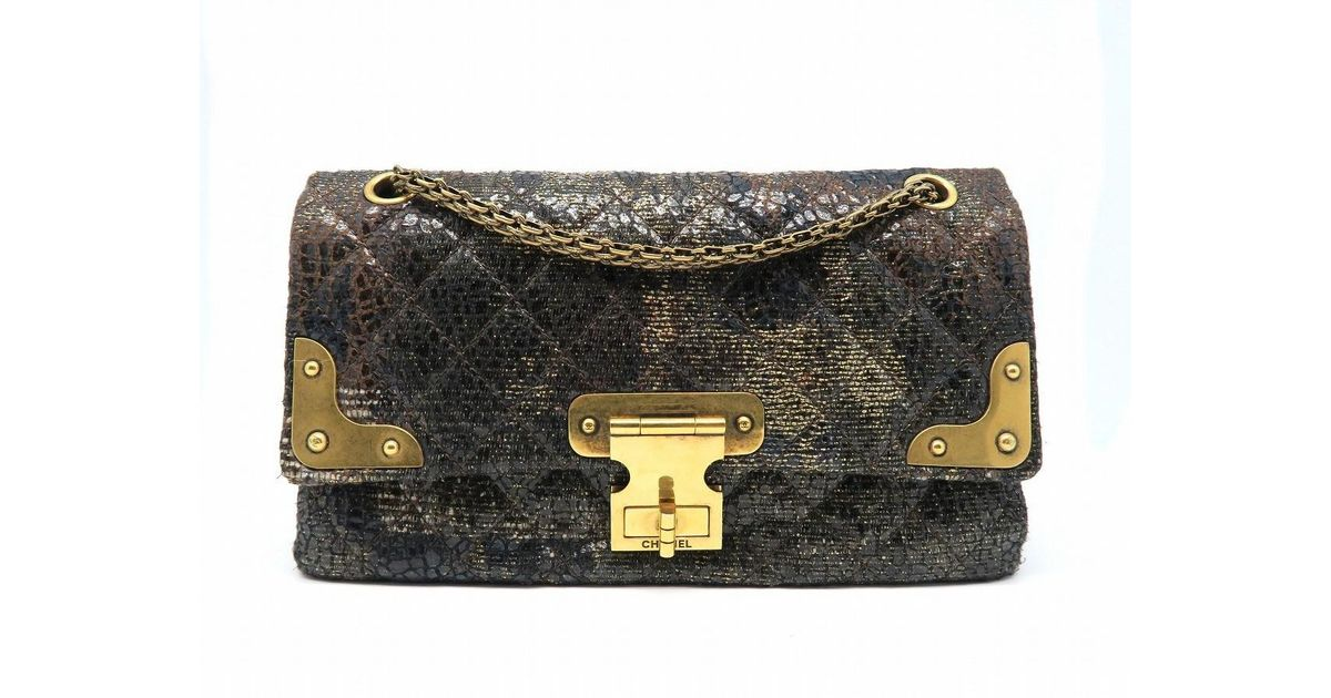 Lyst Chanel Quilting Cloth Gold Metal Chain Shoulder Bag Black In