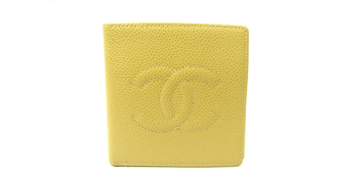 011aabaf8f00 Lyst - Chanel Authentic Bi-fold Wallet Purse Caviar Skin Leather Beige Used  Vintage in Natural