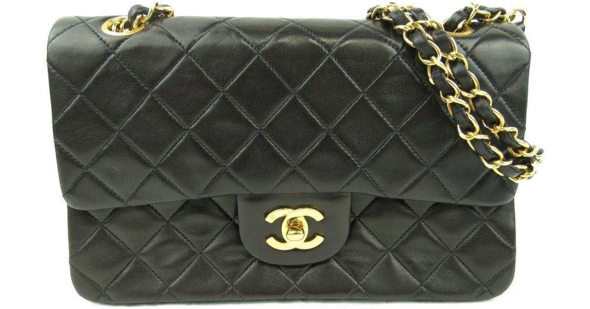 4ded0876fb02 Chanel Authentic Lambskin Leather Matelasse Wflap Chain Shoulder Bag A01113  Used in Black - Lyst