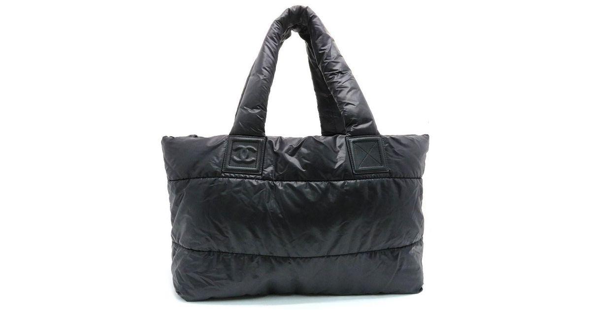 e7a8241bfec Lyst - Chanel Coco Cocoon Tote Bag Handbag Nylon Black 9977 in Black