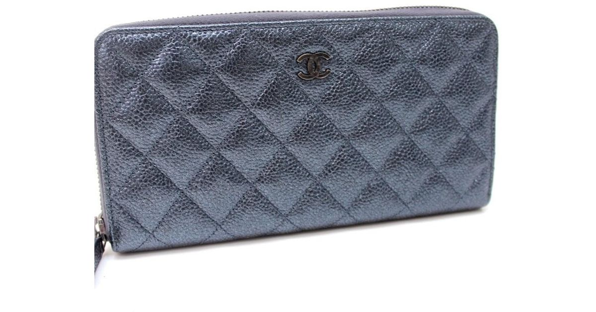 d3b3165173e2 Chanel Matelasse Cc Zip Around Long Wallet Gun Metal Blue Gray Caviar  Leather in Blue - Lyst