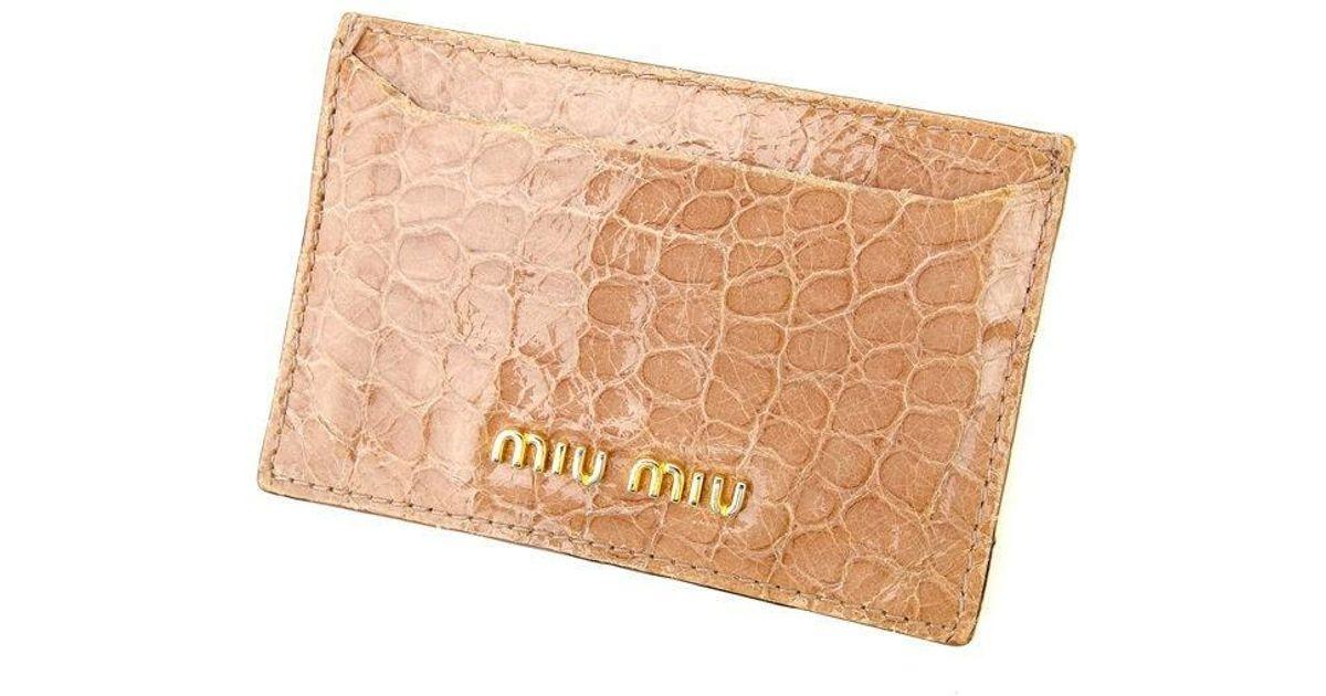 Lyst - Miu Miu Miumiu Business Card Holder Crocodile Embossed Ladies ...
