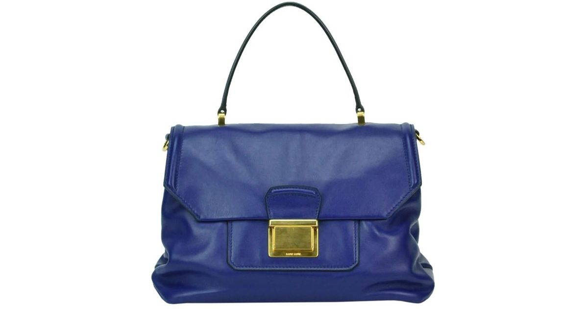 Lyst - Miu Miu Vitello Soft Leather Bag in Blue ae762a786b634