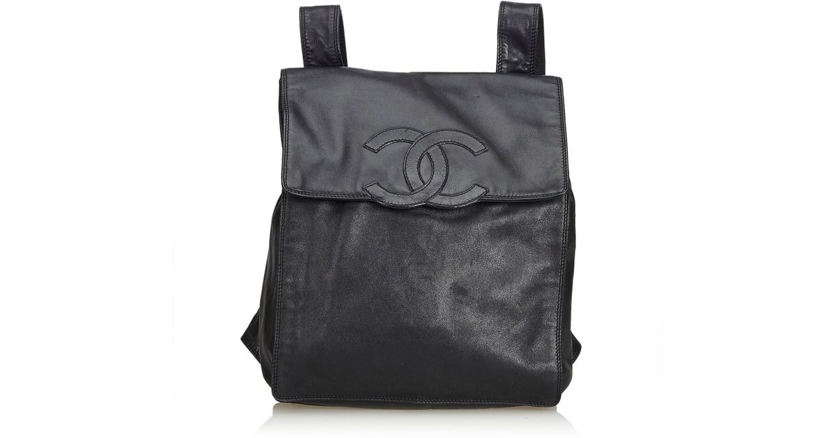 44076b56e164 Lyst - Chanel Lambskin Leather Backpack in Black