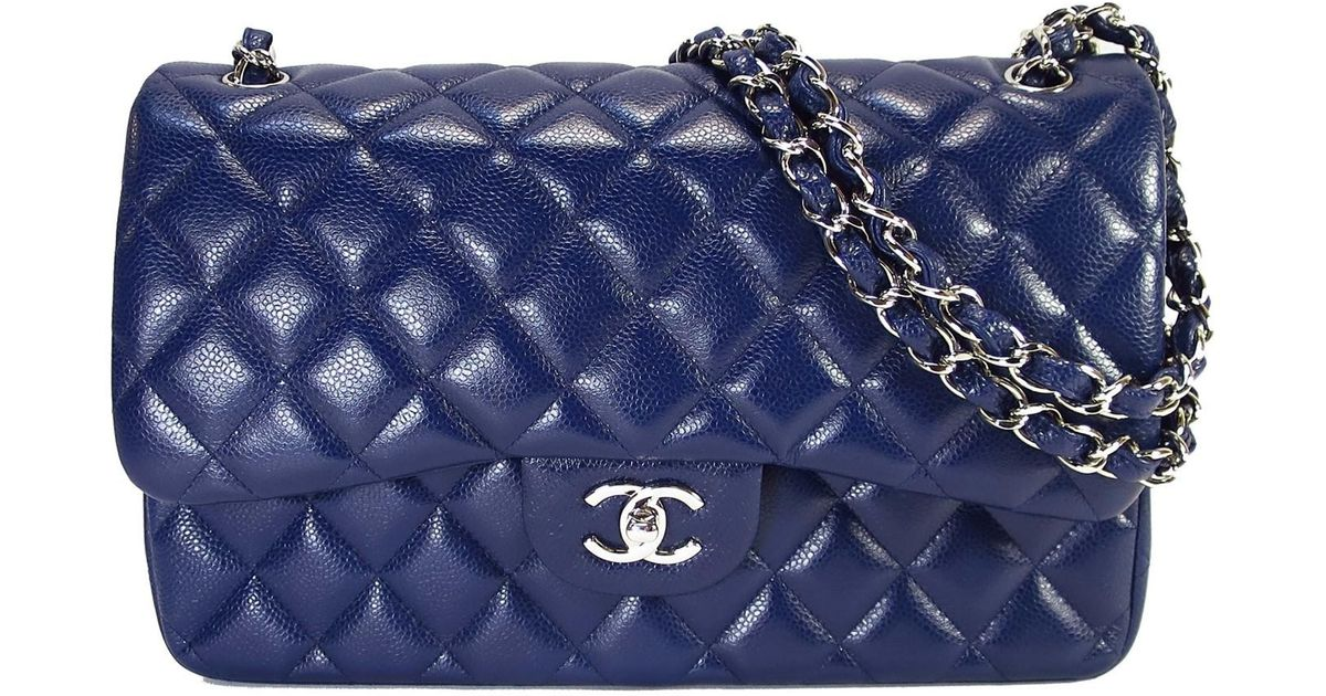 Lyst Chanel Jumbo Classic Double Flap Shoulder Hand Bag Blue Caviar Leather In