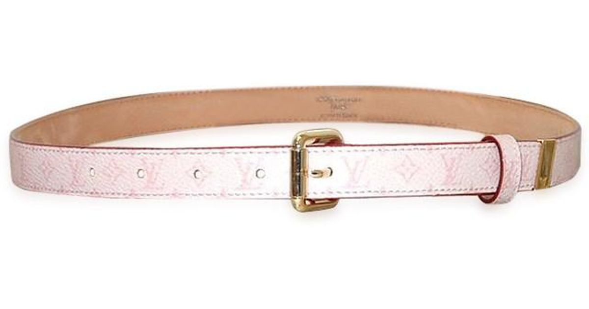b0b846fe4ae9 Lyst - Louis Vuitton Monogram Cherry Blossom Belt San Tulle 20mm M9273y in  Pink