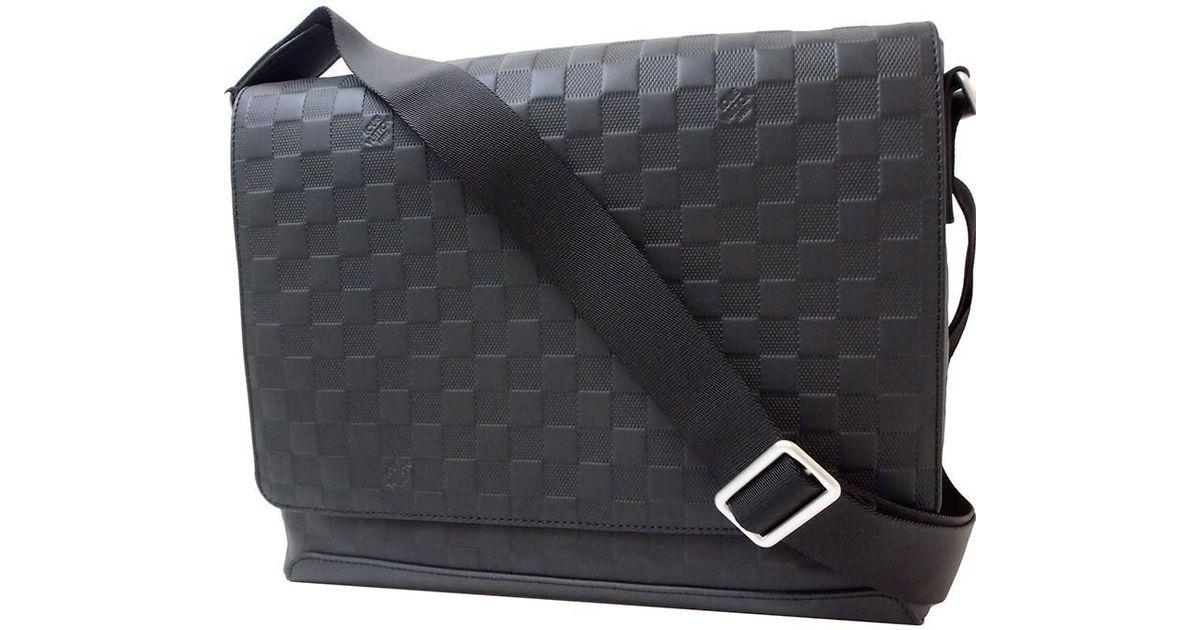 Lyst Louis Vuitton District Mm Damier Infini Leather Black Shoulder Bag Messenger New In For Men