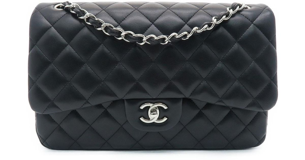 c454807fbeed4f Chanel Quilting Lambskin Classic Flap Jumbo Chain Flap Bag Black 1604 in  Black - Lyst
