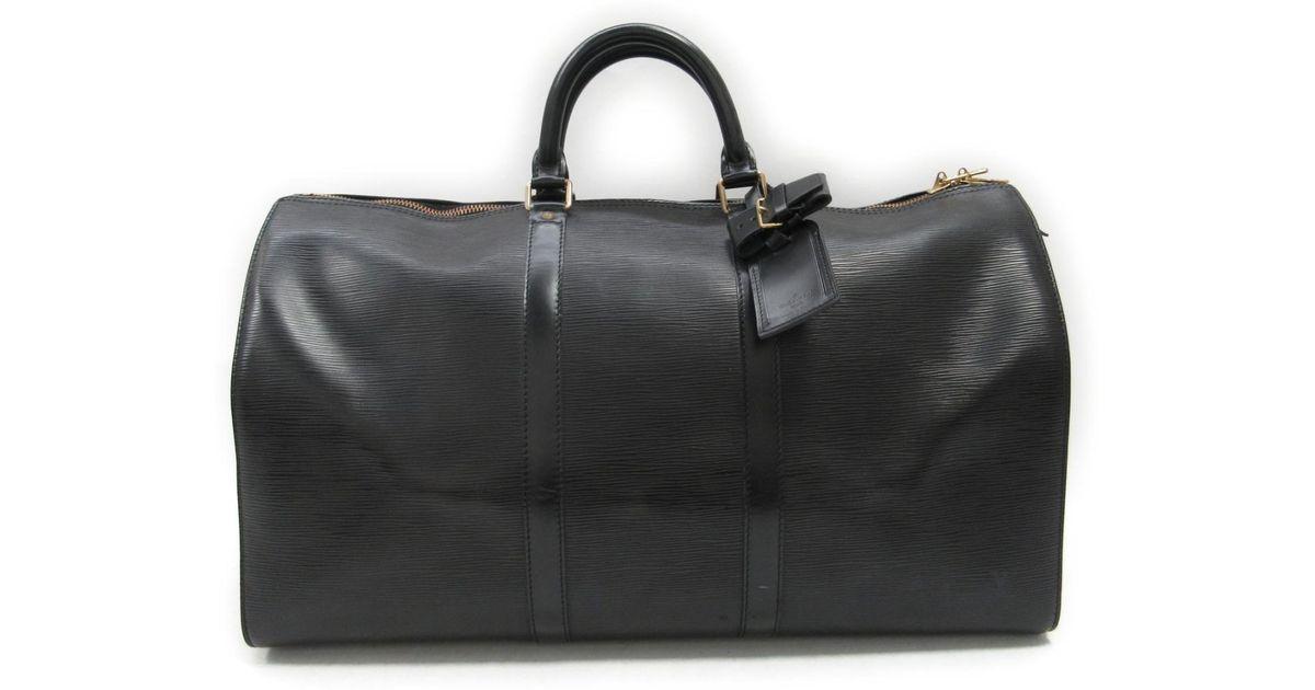 65075a7c328f Lyst - Louis Vuitton Keepall Bandouliere 50 Boston Bag Epi Leather Black  M42962 in Black